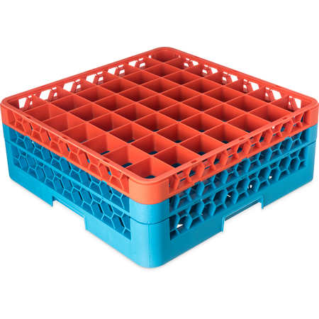 "RG49-2C412 - OptiClean™ 49 Compartment Glass Rack with 2 Extenders 7.12"" - Orange-Carlisle Blue"