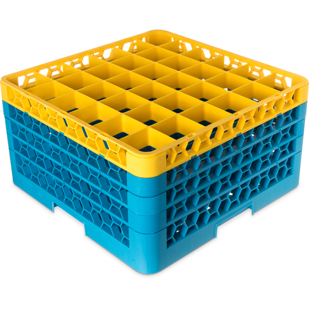 "RG36-4C411 - OptiClean™ 36-Compartment Divided Glass Rack with 4 Extenders 10.3"" - Yellow-Carlisle Blue"