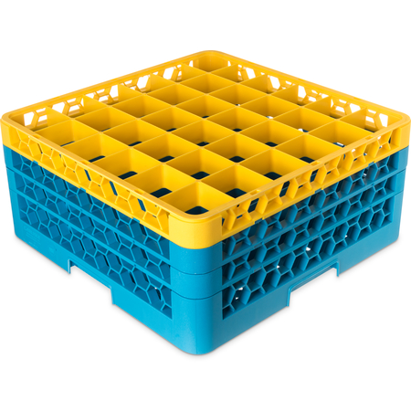 "RG36-3C411 - OptiClean™ 36-Compartment Divided Glass Rack with 3 Extenders 8.72"" - Yellow-Carlisle Blue"