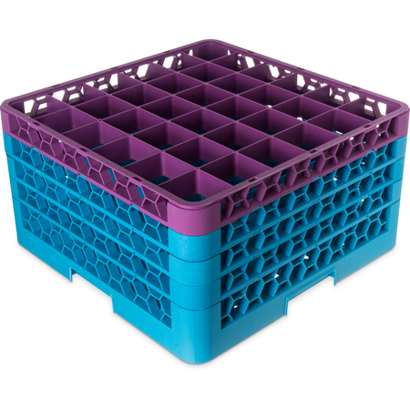 "RG36-4C414 - OptiClean™ 36-Compartment Divided Glass Rack with 4 Extenders 10.3"" - Lavender-Carlisle Blue"