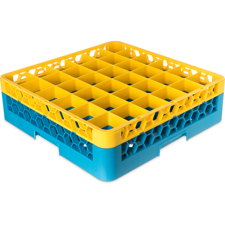 "RG36-1C411 - OptiClean™ 36-Compartment Divided Glass Rack with 1 Extender 5.56"" - Yellow-Carlisle Blue"