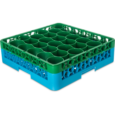 RW30-C413 - OptiClean™ NeWave™ Color-Coded Glass Rack with Integrated Extender 30 Compartment - Green-Carlisle Blue
