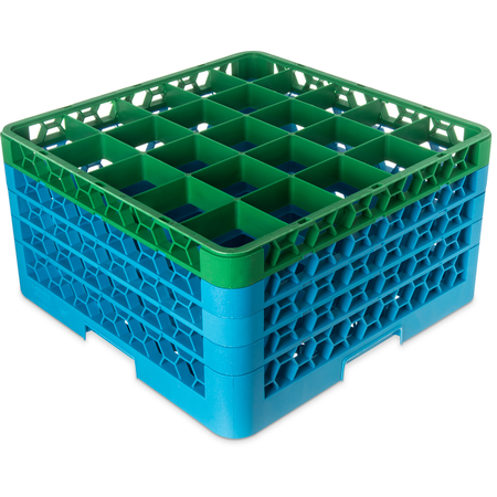 """RG25-4C413 - OptiClean™ 25 Compartment Glass Rack with 4 Extenders 10.3"""" - Green-Carlisle Blue"""