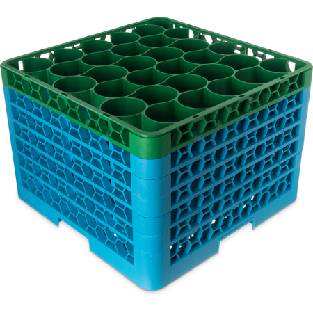 RW30-4C413 - OptiClean™ NeWave™ Color-Coded Glass Rack with Five Extenders 30 Compartment - Green-Carlisle Blue