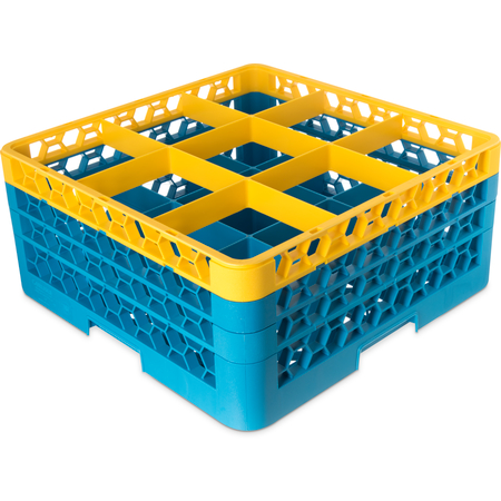 "RG9-3C411 - OptiClean™ 9-Compartment Divided Glass Rack with 3 Extenders 8.72"" - Yellow-Carlisle Blue"