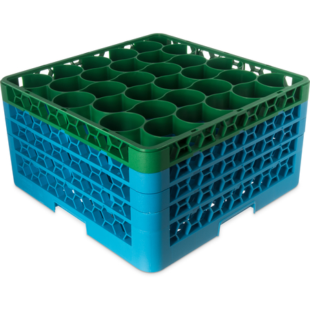 RW30-2C413 - OptiClean™ NeWave™ Color-Coded Glass Rack with 3 Integrated Extenders 30 Compartment (2pk) - Green-Carlisle Blue