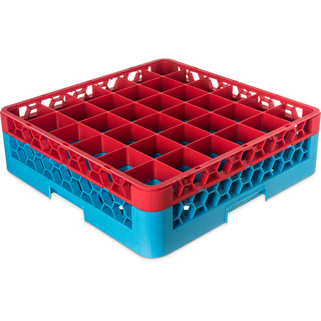 "RG36-1C410 - OptiClean™ 36-Compartment Divided Glass Rack with 1 Extender 5.56"" - Red-Carlisle Blue"