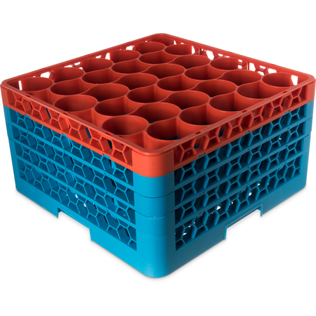 RW30-2C412 - OptiClean™ NeWave™ Color-Coded Glass Rack with 3 Integrated Extenders 30 Compartment (2pk) - Orange-Carlisle Blue
