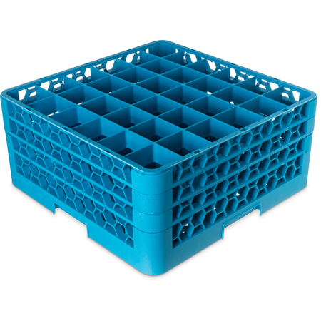 "RG36-314 - OptiClean™ 36-Compartment Divided Glass Rack with 3 Extenders 8.72"" - Carlisle Blue"