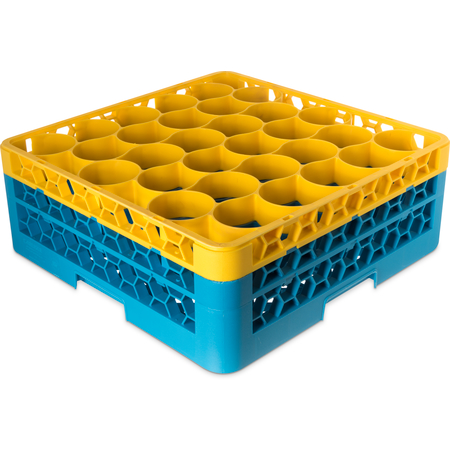 RW30-1C411 - OptiClean™ NeWave™ Color-Coded Glass Rack with 2 Integrated Extenders 30 Compartment - Yellow-Carlisle Blue