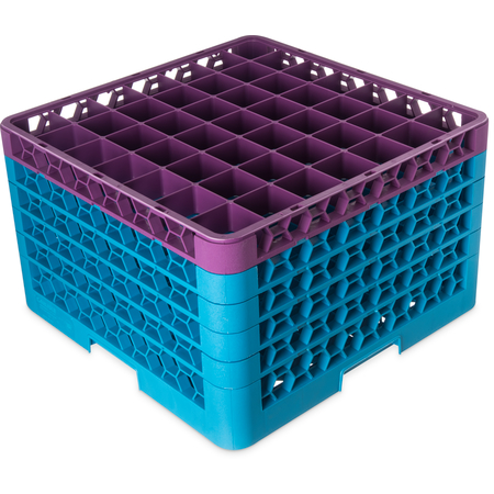 "RG49-5C414 - OptiClean™ 49-Compartment Divided Glass Rack with 5 Extenders 11.9"" - Lavender-Carlisle Blue"