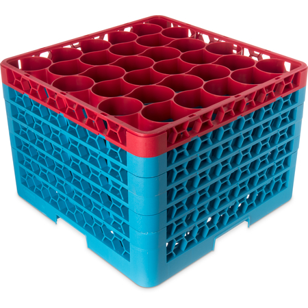 RW30-4C410 - OptiClean™ NeWave™ Color-Coded Glass Rack with Five Extenders 30 Compartment - Red-Carlisle Blue
