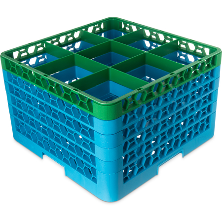 """RG9-5C413 - OptiClean™ 9 Compartment Glass Rack with 5 Extenders 11.9"""" - Green-Carlisle Blue"""