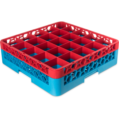 "RG25-1C410 - OptiClean™ 25-Compartment Divided Glass Rack with 1 Extender 5.56"" - Red-Carlisle Blue"