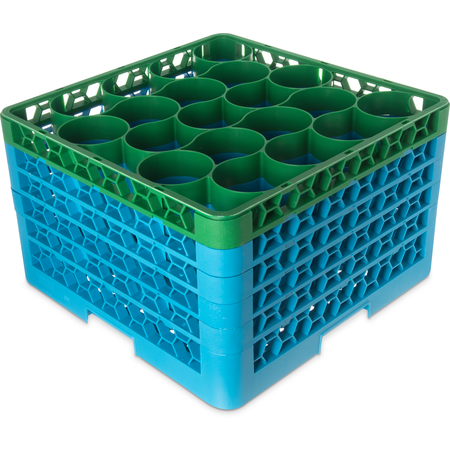 RW20-4C413 - OptiClean™ NeWave™ Color-Coded Glass Rack with 5 Integrated Extenders 20 Compartment - Green-Carlisle Blue