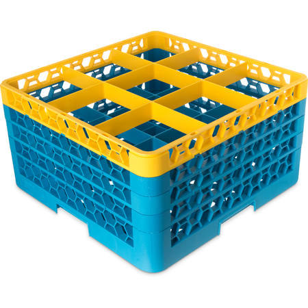 "RG9-4C411 - OptiClean™ 9-Compartment Divided Glass Rack with 4 Extenders 10.3"" - Yellow-Carlisle Blue"