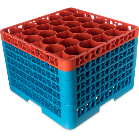 RW30-4C412 - OptiClean™ NeWave™ Color-Coded Glass Rack with 5 Integrated Extenders 30 Compartment - Orange-Carlisle Blue