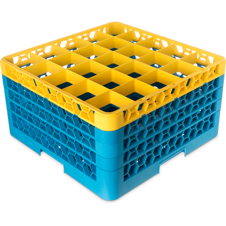 "RG25-4C411 - OptiClean™ 25-Compartment Divided Glass Rack with 4 Extenders 10.3"" - Yellow-Carlisle Blue"