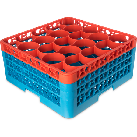 RW20-2C413 - OptiClean™ NeWave™ Color-Coded Glass Rack with 3 Integrated Extenders 20 Compartment - Green-Carlisle Blue