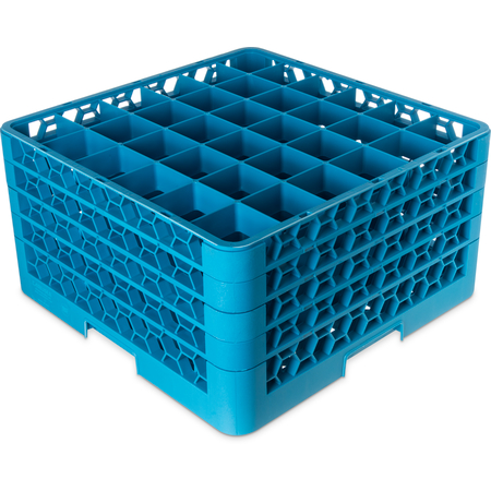 "RG36-414 - OptiClean™ 36-Compartment Divided Glass Rack with 4 Extenders 10.3"" - Carlisle Blue"