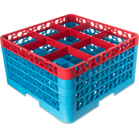 "RG9-4C410 - OptiClean™ 9 Compartment Glass Rack with 4 Extenders 10.3"" - Red-Carlisle Blue"