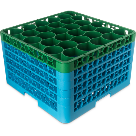 RW30-3C413 - OptiClean™ NeWave™ Color-Coded Glass Rack with Four Extenders 30 Compartment - Green-Carlisle Blue