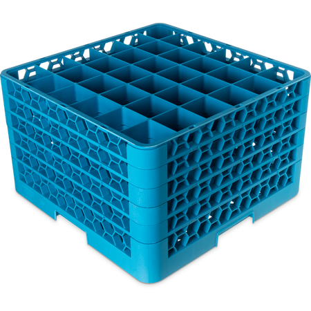 "RG36-514 - OptiClean™ 36-Compartment Divided Glass Rack with 5 Extenders 11.9"" - Carlisle Blue"