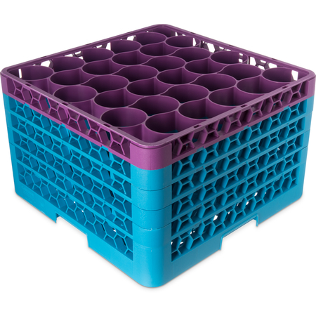 RW30-3C414 - OptiClean™ NeWave™ Color-Coded Glass Rack with 4 Integrated Extenders 30 Compartment - Lavender-Carlisle Blue