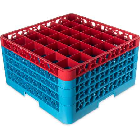 "RG36-4C410 - OptiClean™ 36-Compartment Divided Glass Rack with 4 Extenders 10.3"" - Red-Carlisle Blue"