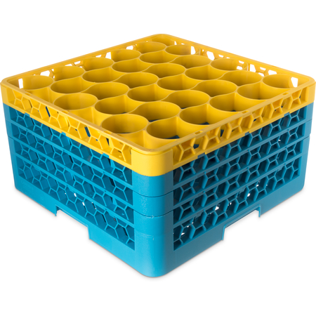 RW30-2C411 - OptiClean™ NeWave™ Color-Coded Glass Rack with 3 Integrated Extenders 30 Compartment (2pk) - Yellow-Carlisle Blue