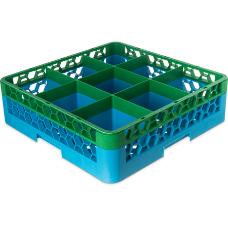 """RG9-1C413 - OptiClean™ 9-Compartment Divided Glass Rack with 1 Extender 5.56"""" - Green-Carlisle Blue"""