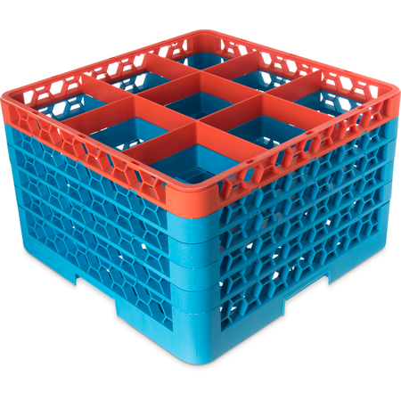 """RG9-5C412 - OptiClean™ 9 Compartment Glass Rack with 5 Extenders 11.9"""" - Orange-Carlisle Blue"""