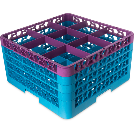 """RG9-4C414 - OptiClean™ 9-Compartment Divided Glass Rack with 4 Extenders 10.3"""" - Lavender-Carlisle Blue"""