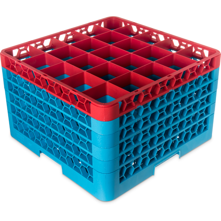 "RG25-5C410 - OptiClean™ 25 Compartment Glass Rack with 5 Extenders 11.9"" - Red-Carlisle Blue"
