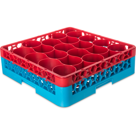RW20-C410 - OptiClean™ NeWave™ Color-Coded Glass Rack with Integrated Extender 20 Compartment - Red-Carlisle Blue