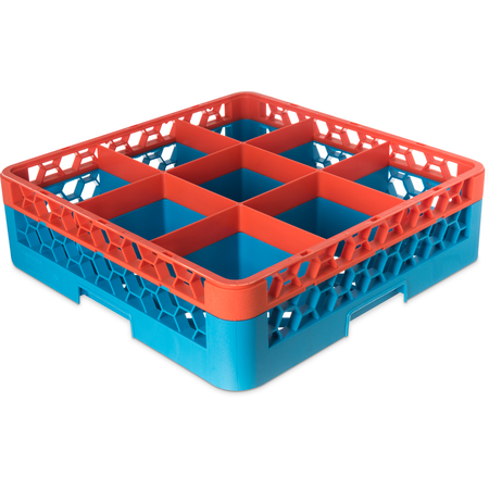 "RG9-1C412 - OptiClean™ 9-Compartment Divided Glass Rack with 1 Extender 5.56"" - Orange-Carlisle Blue"