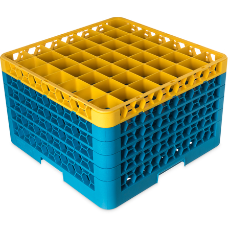 """RG49-5C411 - OptiClean™ 49-Compartment Divided Glass Rack with 5 Extenders 11.9"""" - Yellow-Carlisle Blue"""