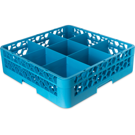 "RG9-114 - OptiClean™ 9-Compartment Divided Glass Rack with 1 Extender 5.56"" - Carlisle Blue"