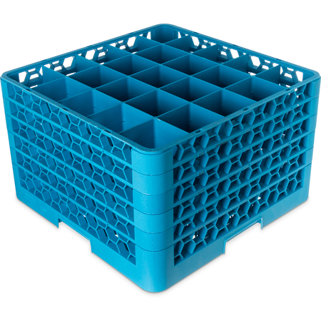 "RG25-514 - 25-Compartment Divided Glass Rack with 5 Extenders 11.9"" - Carlisle Blue"