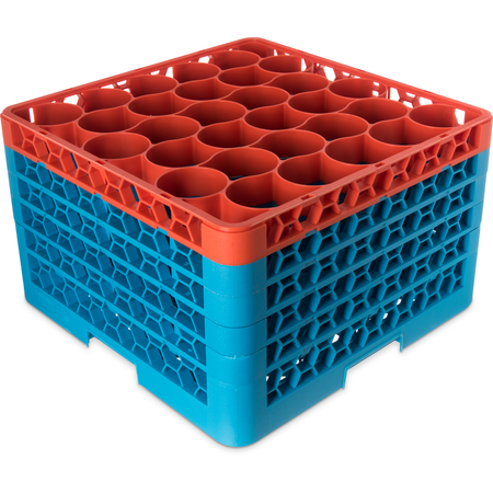 RW30-3C412 - OptiClean™ NeWave™ Color-Coded Glass Rack with 4 Integrated Extenders 30 Compartment - Orange-Carlisle Blue
