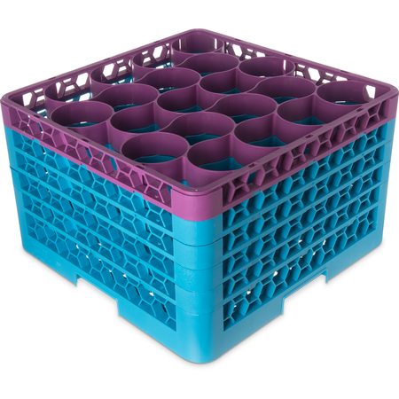 RW20-4C414 - OptiClean™ NeWave™ Color-Coded Glass Rack with 5 Integrated Extenders 20 Compartment - Lavender-Carlisle Blue