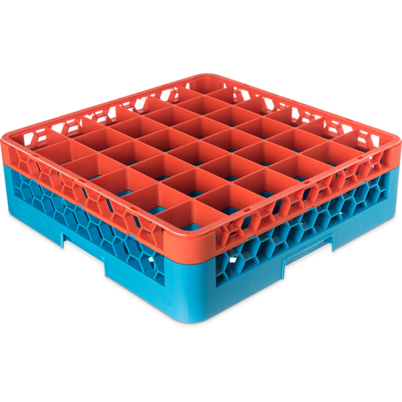 "RG36-1C412 - OptiClean™ 36-Compartment Divided Glass Rack with 1 Extender 5.56"" - Orange-Carlisle Blue"