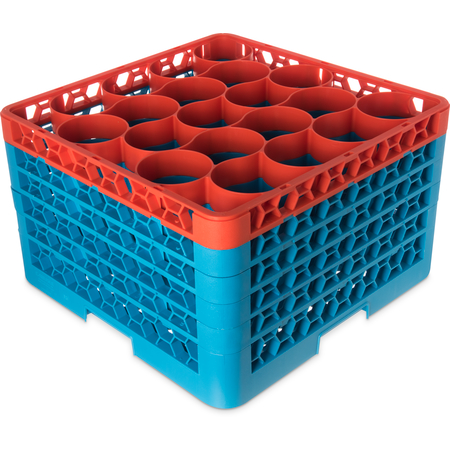 RW20-4C412 - OptiClean™ NeWave™ Color-Coded Glass Rack with Five Extenders 20 Compartment - Orange-Carlisle Blue