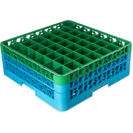 "RG49-2C413 - OptiClean™ 49-Compartment Divided Glass Rack with 2 Extenders 7.12"" - Green-Carlisle Blue"