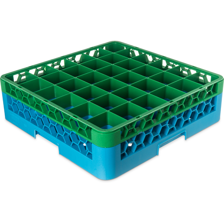 "RG36-1C413 - OptiClean™ 36-Compartment Divided Glass Rack with 1 Extender 5.56"" - Green-Carlisle Blue"