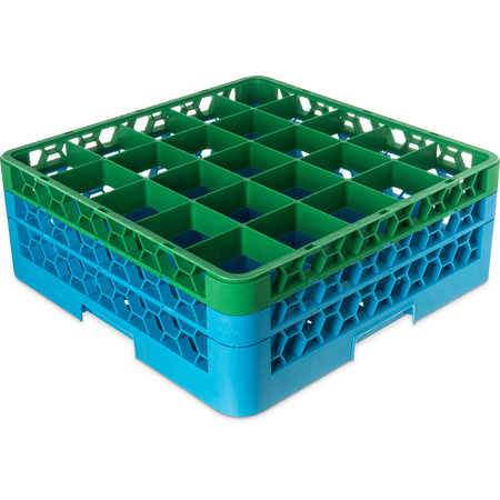 """RG25-2C413 - OptiClean™ 25-Compartment Divided Glass Rack with 2 Extenders 7.12"""" - Green-Carlisle Blue"""