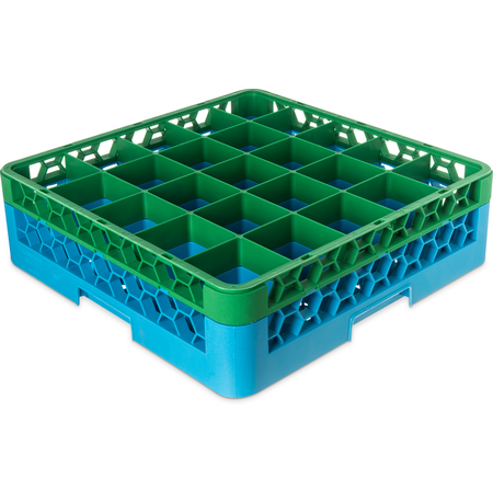 "RG25-1C413 - OptiClean™ 25-Compartment Divided Glass Rack with 1 Extender 5.56"" - Green-Carlisle Blue"