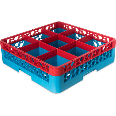 "RG9-1C410 - OptiClean™ 9-Compartment Divided Glass Rack with 1 Extender 5.56"" - Red-Carlisle Blue"