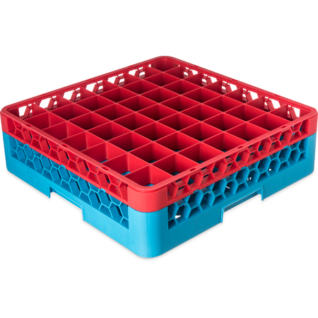 "RG49-1C410 - OptiClean™ 49-Compartment Divided Glass Rack with 1 Extender 5.56"" - Red-Carlisle Blue"