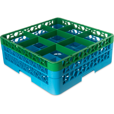 "RG9-2C413 - OptiClean™ 9-Compartment Divided Glass Rack with 2 Extenders 7.12"" - Green-Carlisle Blue"